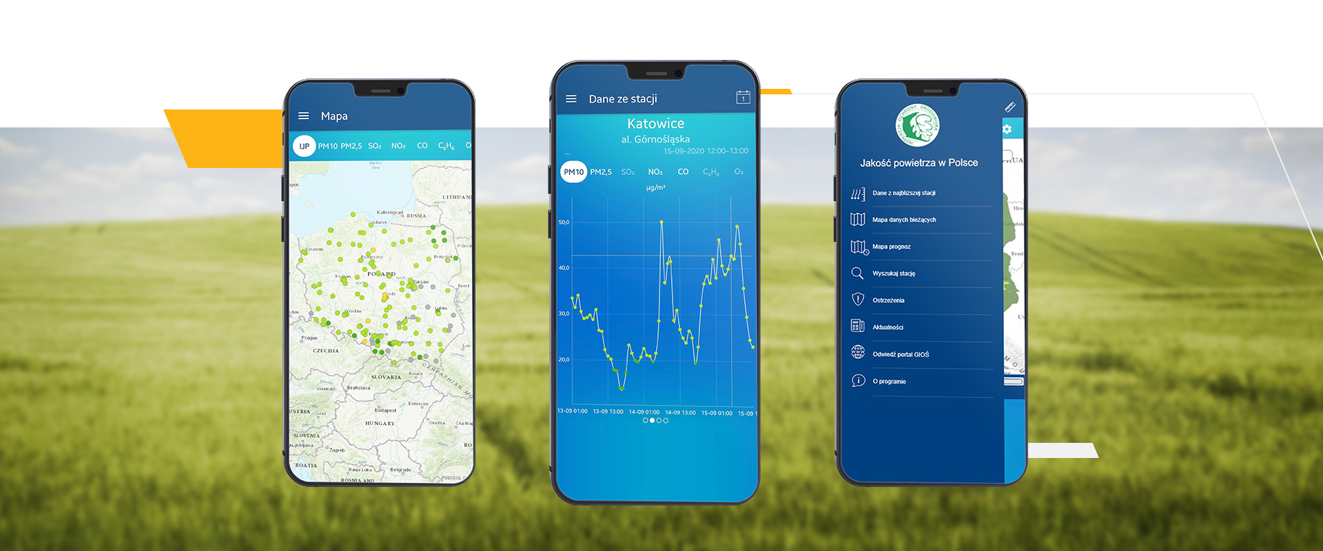 The portal and mobile applications to inform the public about the air quality in Poland.