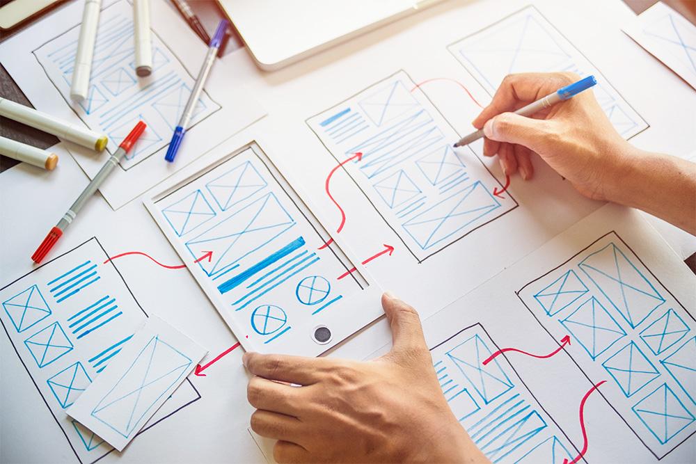 Hand-drawn application screen
