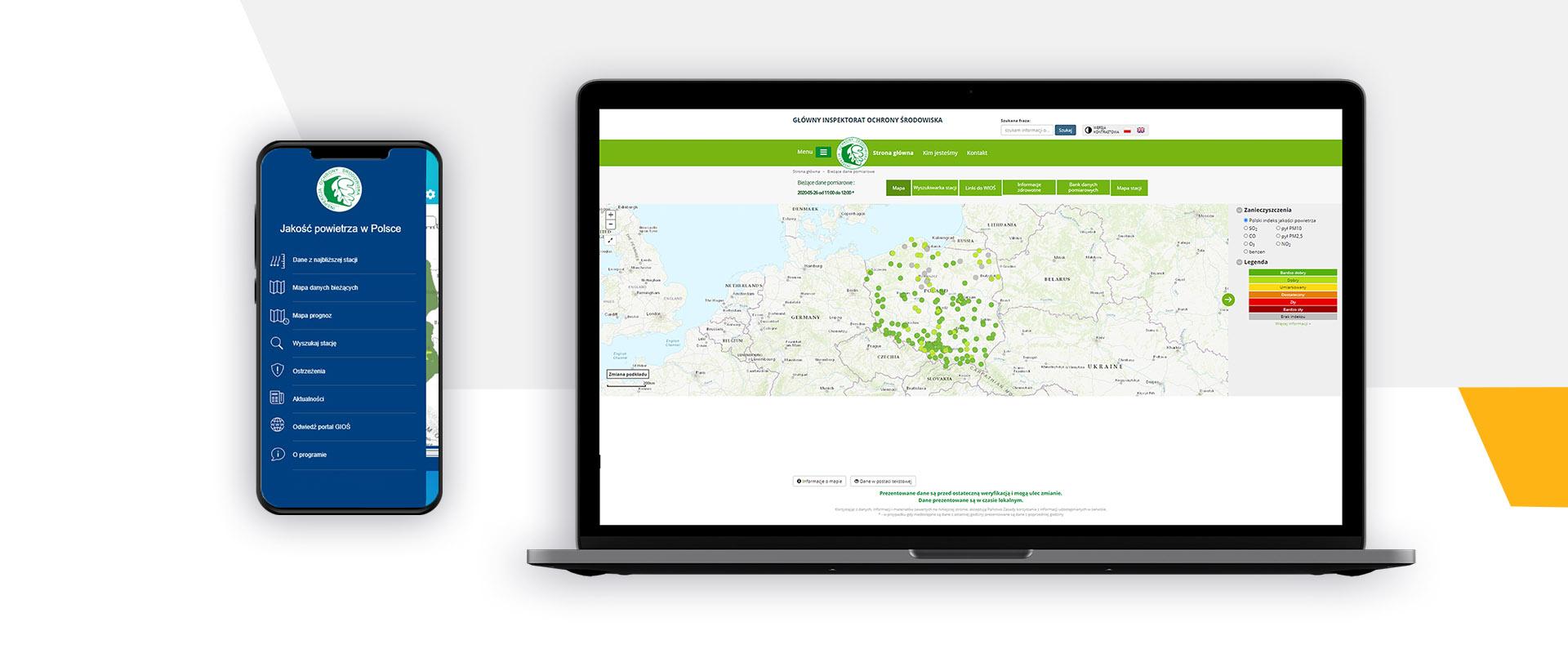 Nettportal og mobilapplikasjon som informerer samfunnet om luftkvaliteten i Polen.