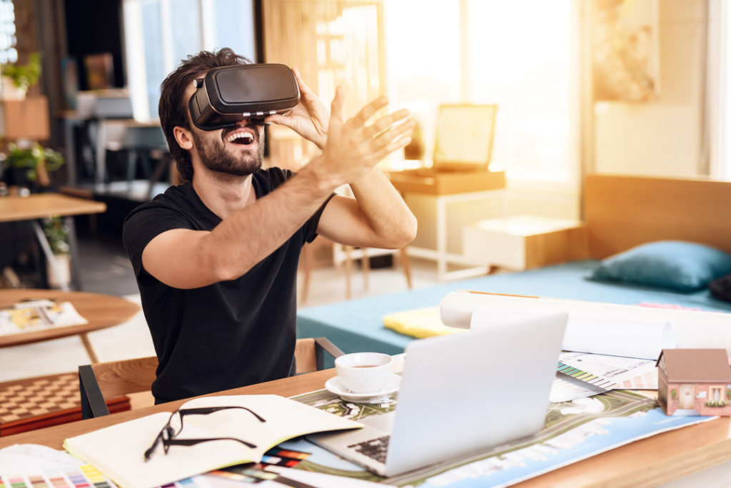 Designer Working Remotely and Testing VR