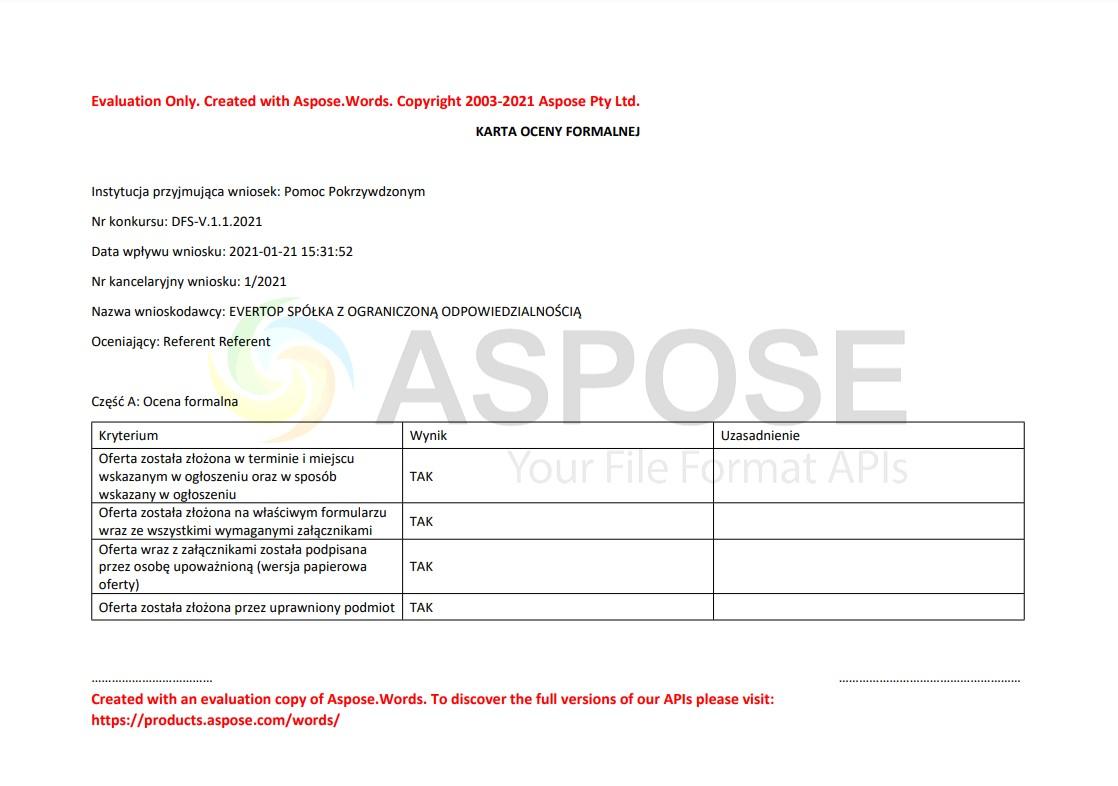 przykład wykorzystania wersji próbnej do generacji karty oceny formalnej